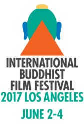 [green buddha head with yellow top knot, blue ears, and orange triangle at third eye, above international buddhist film festival in black type and 2017 los angeles june 2-4 in green type]