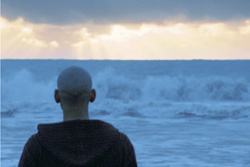 [view of a man's back as he stares at crashing waves]