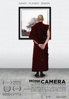 "[""Dandy. Playboy. Seeker."" headline above image of back of maroon-robed monk holding prayer beads and gazing at a large framed photograph of a tree on the wall of a grey colored room]"