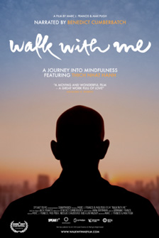 [poster of silhouette of back of head and shoulders of man with shaved head below a gradation of blue sky to tan horizon with script white walk with metext]