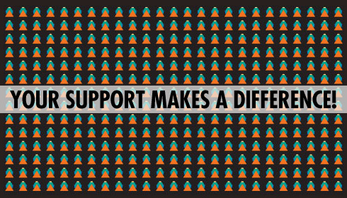 [bold black text in caps—YOUR SUPPORT MAKES A DIFFERENCE!—on a translucent gray bar above a pattern of multiple graphic buddha head images on a black background]